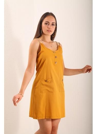 Reyon İp Askılı Keten Elbise Hardal Hardal